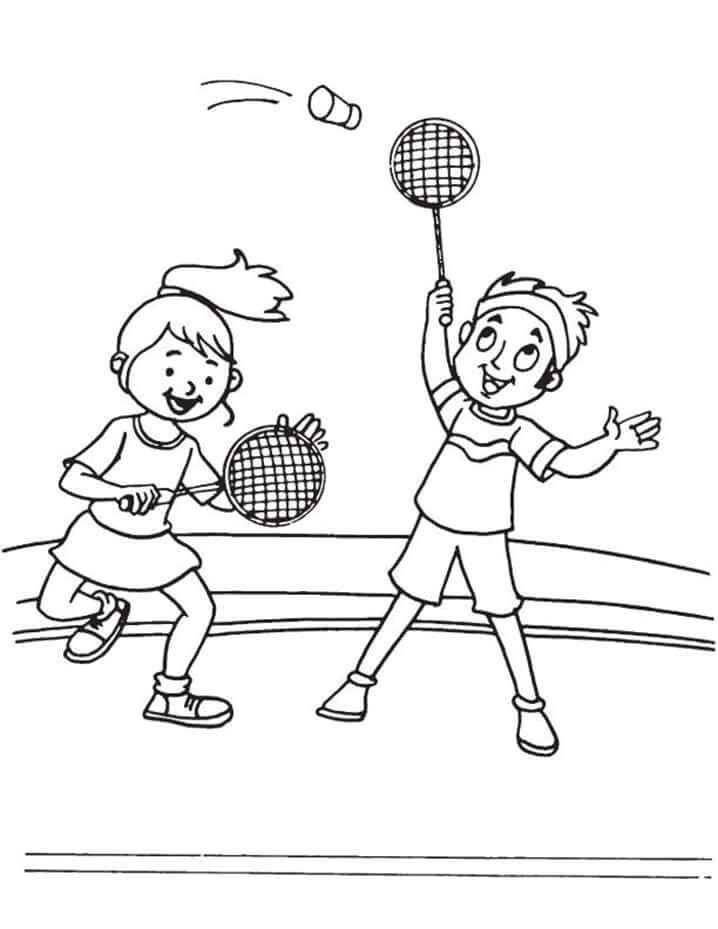 Desenhos de Crianças Jogando Badminton para colorir