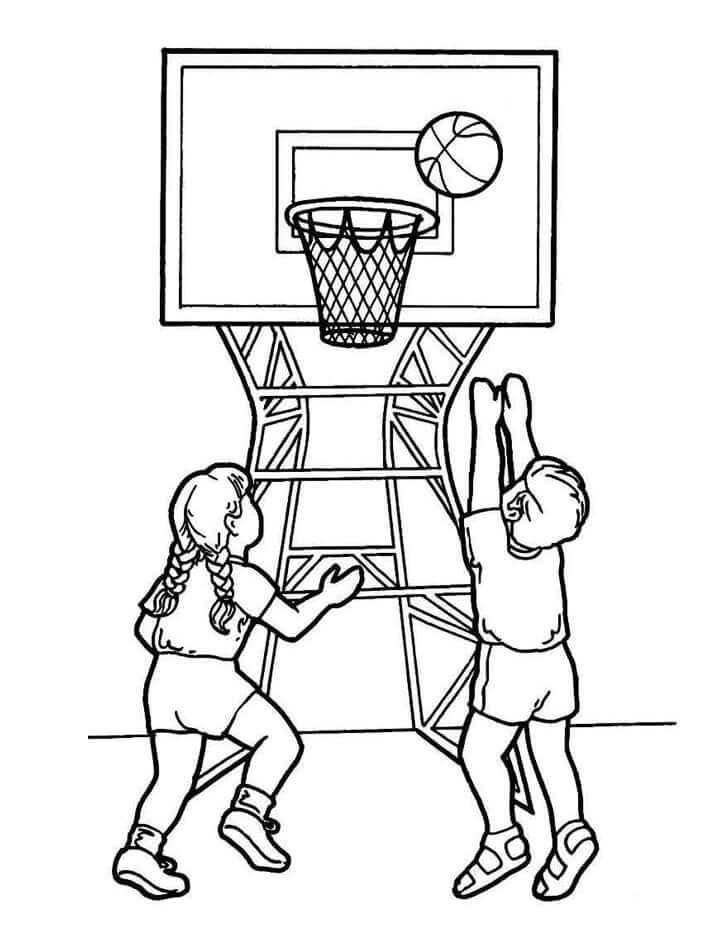 Desenhos de Crianças Jogando Basquete 1 para colorir
