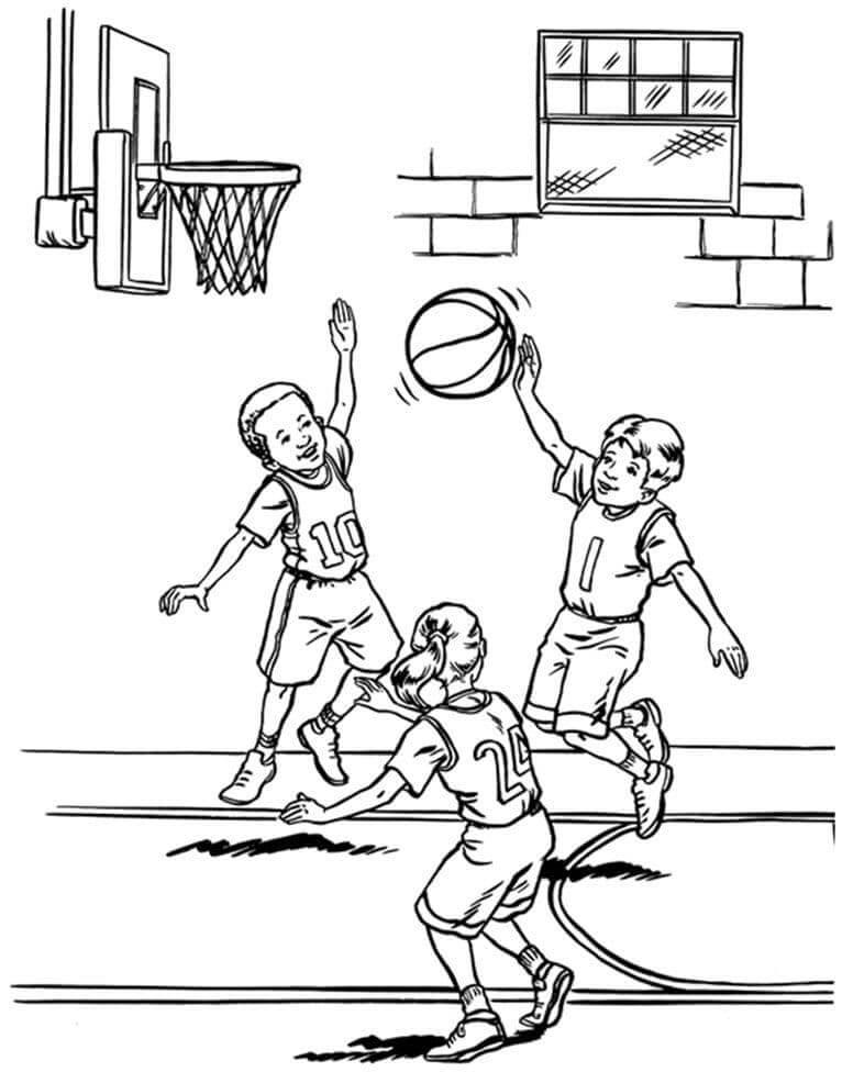Desenhos de Crianças Jogando Basquete 2 para colorir