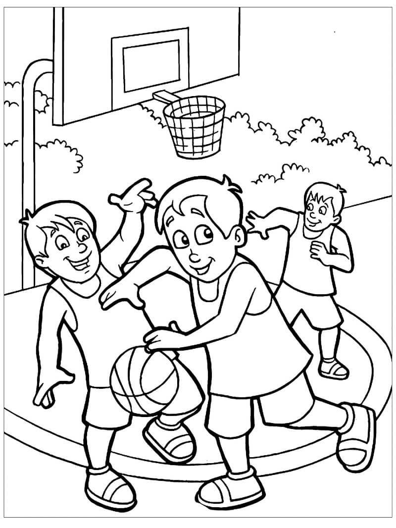Desenhos de Crianças Jogando Basquete para colorir