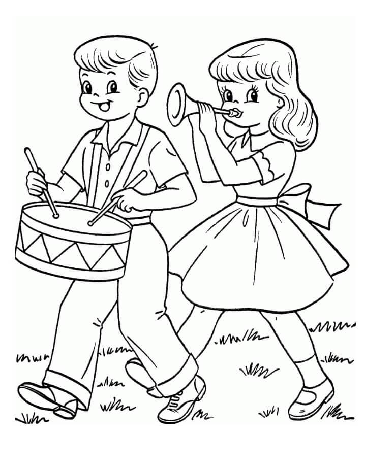 Desenhos de Crianças Tocando Tambor para colorir