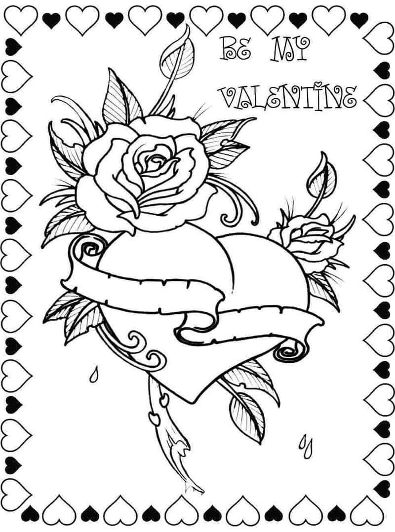 Desenhos de Dia dos Namorados com Coração e Rosa para colorir