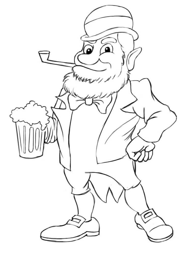 Desenhos de Duende com cerveja para colorir
