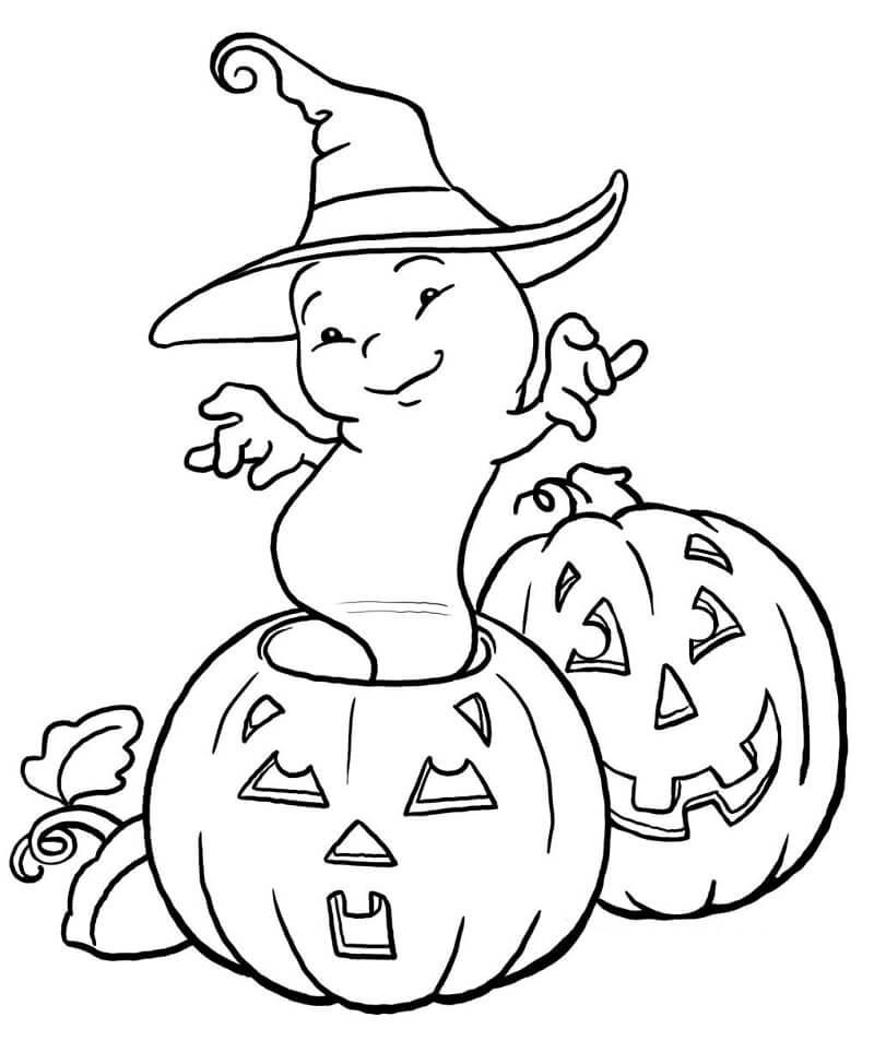 Desenhos de Fantasma e Abóboras para colorir