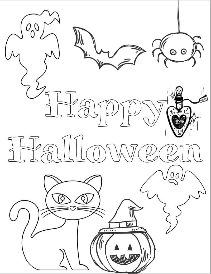 Desenhos de Feliz Dia das Bruxas 1 para colorir