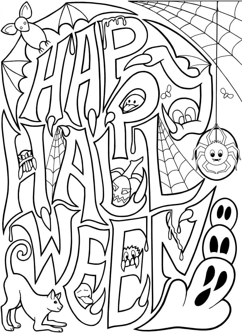 Desenhos de Feliz Dia das Bruxas para colorir