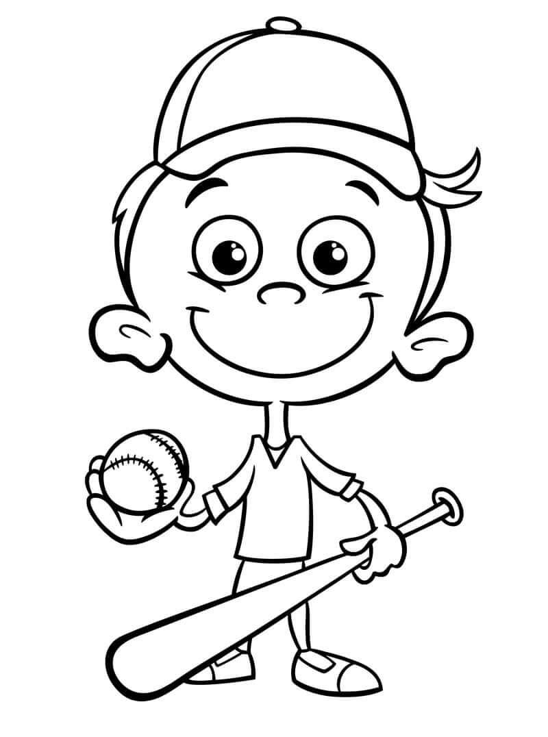 Desenhos de Feliz Jogador de Beisebol 1 para colorir