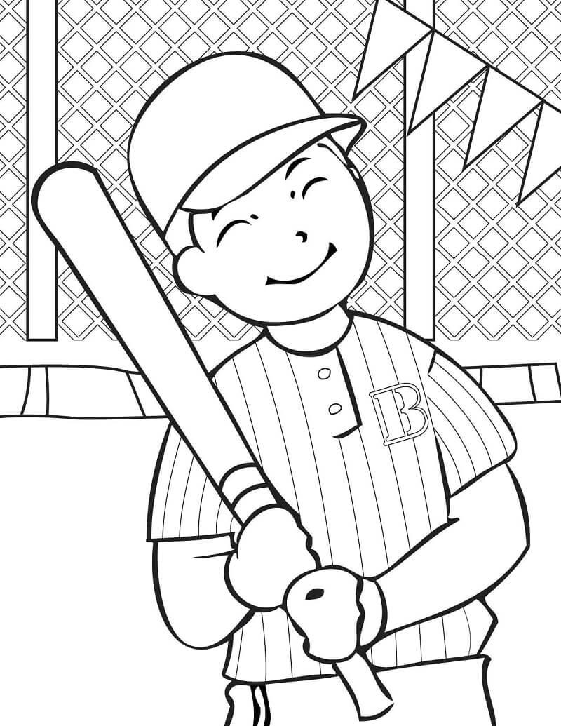 Desenhos de Feliz Jogador de Beisebol para colorir