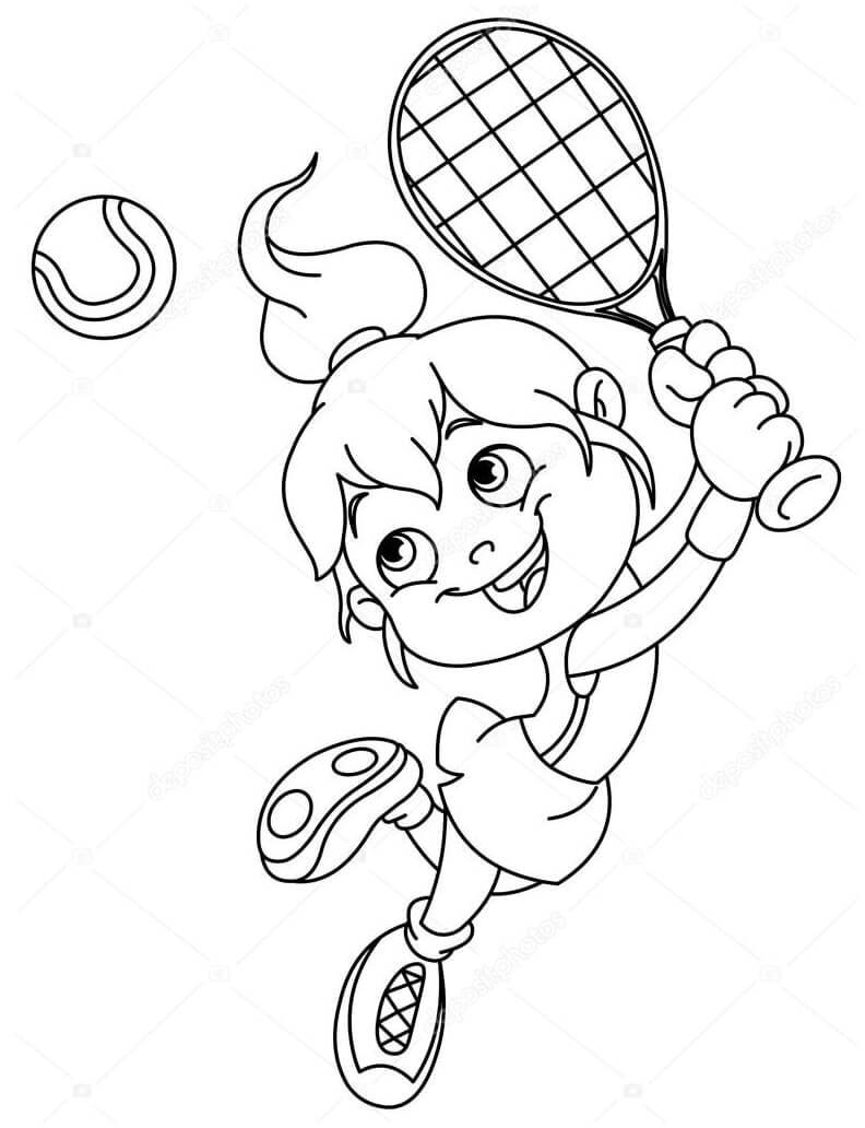 Desenhos de Garotinha Jogando Tênis 1 para colorir