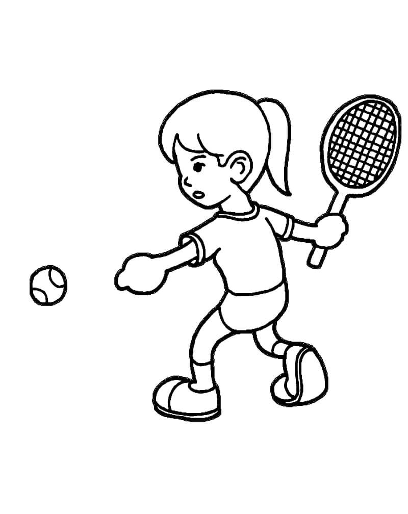 Desenhos de Garotinha Jogando Tênis 2 para colorir