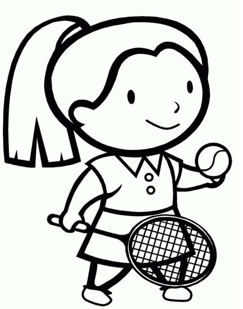 Desenhos de Garotinha Jogando Tênis para colorir