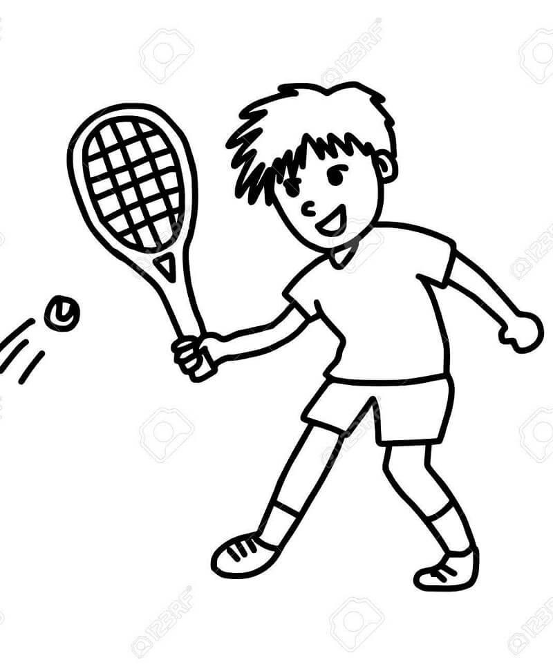 Desenhos de Garotinho Jogando Tênis 1 para colorir
