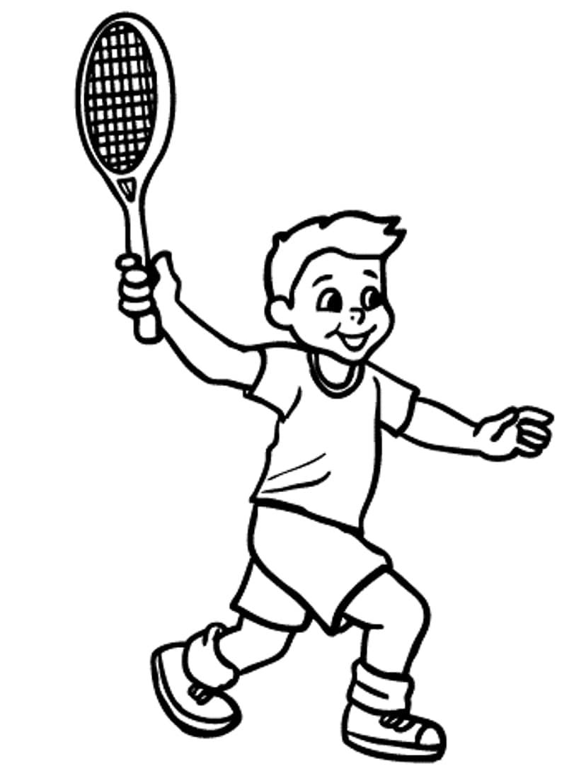 Desenhos de Garotinho Jogando Tênis 2 para colorir