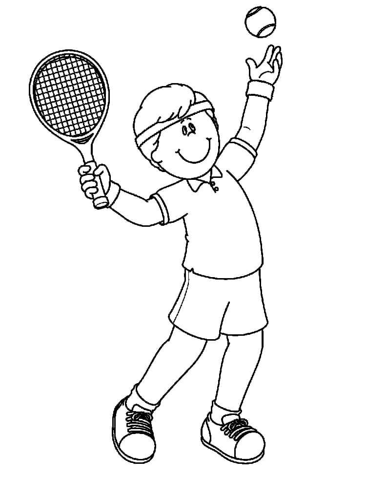Desenhos de Garotinho Jogando Tênis 3 para colorir