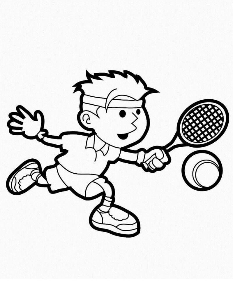 Desenhos de Garotinho Jogando Tênis para colorir