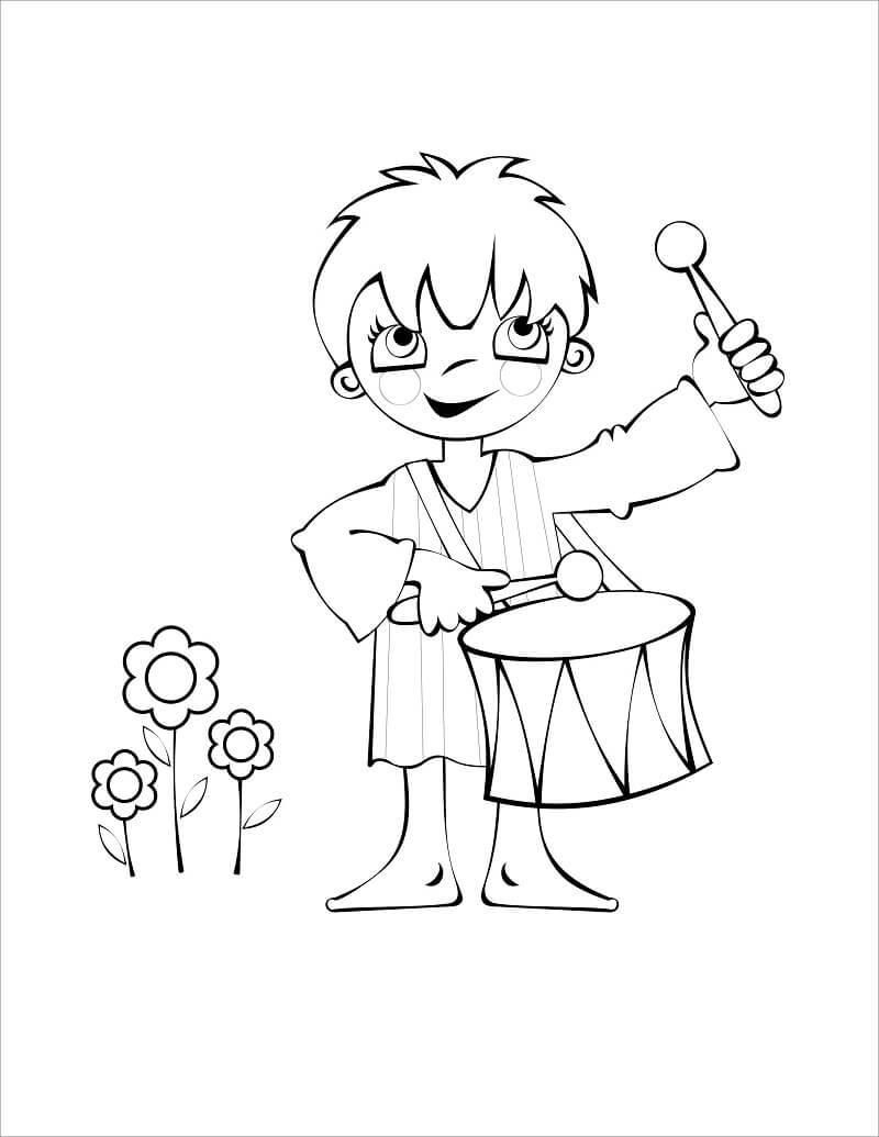 Desenhos de Garotinho Tocando Tambor 1 para colorir