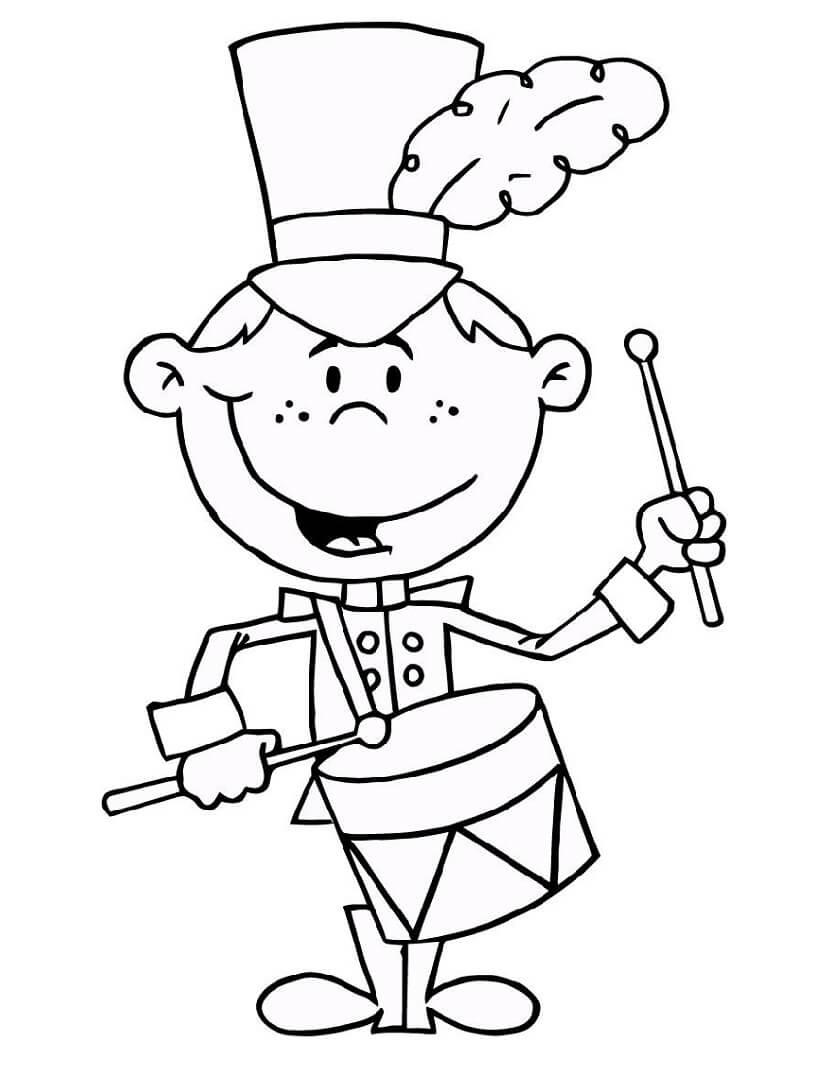 Desenhos de Garotinho Tocando Tambor 3 para colorir