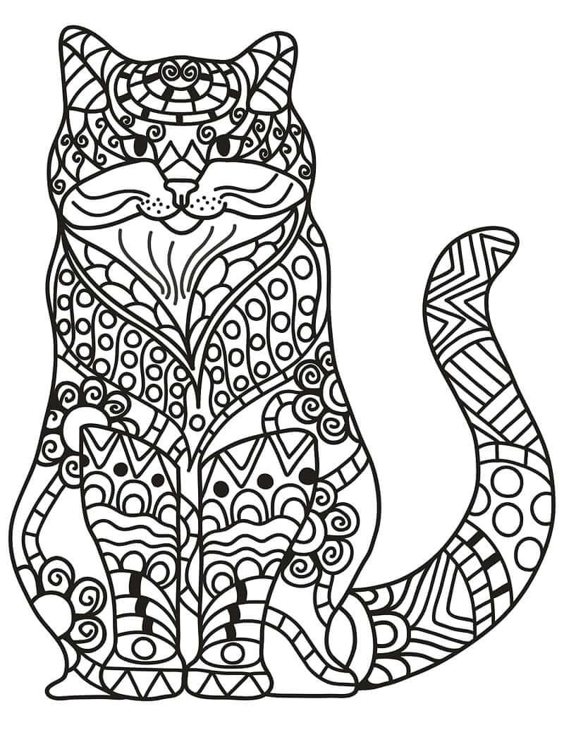 Desenhos de Gato adormecido em estilo Zentangle para colorir