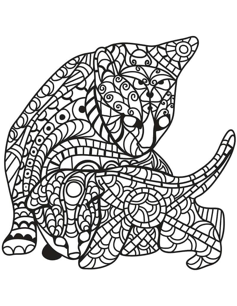 Desenhos de Gato e gatinho em estilo Zentangle para colorir