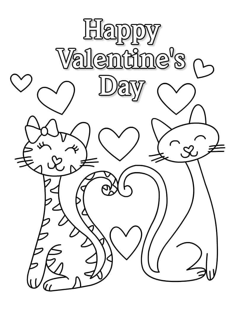 Desenhos de Gatos dos Namorados para colorir