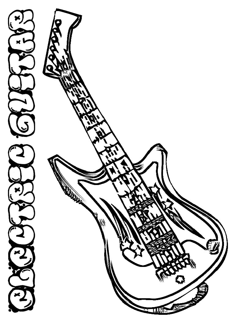 Desenhos de Guitarra Elétrica 1 para colorir