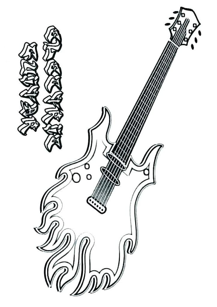 Desenhos de Guitarra Elétrica 2 para colorir