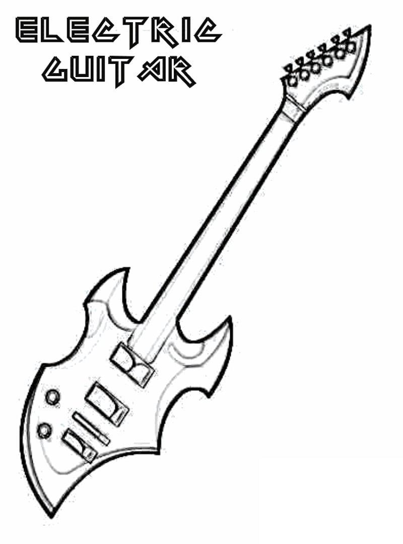Desenhos de Guitarra Elétrica 3 para colorir
