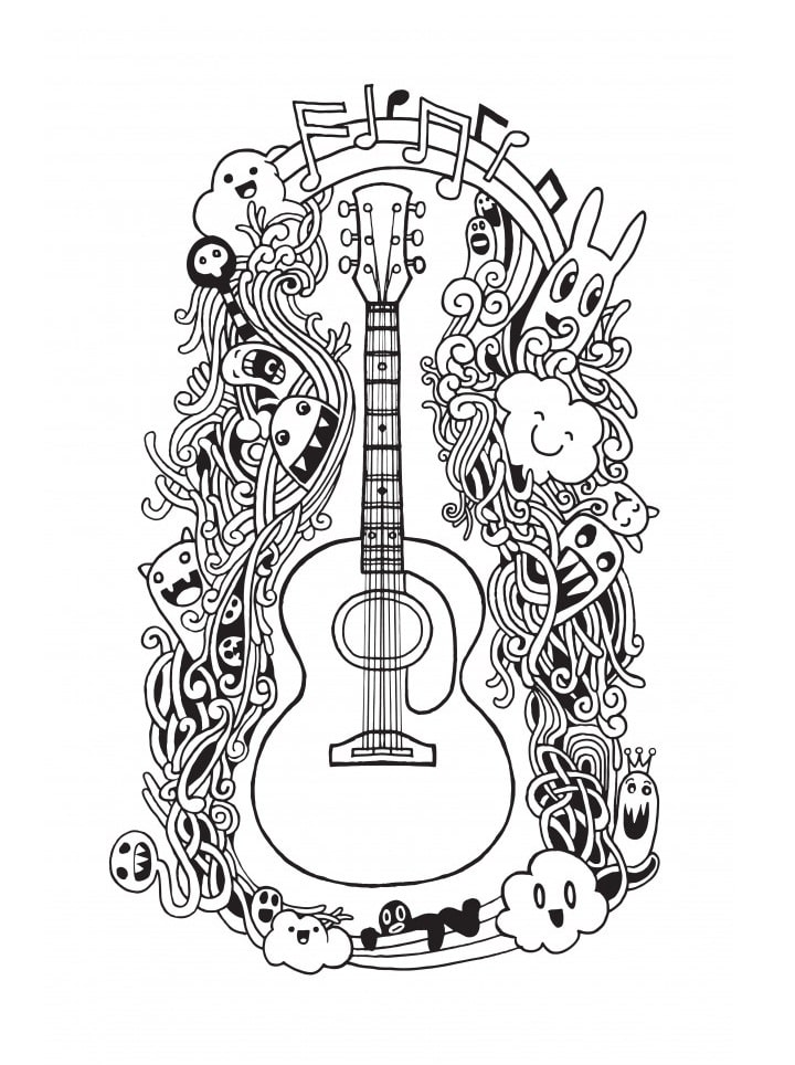 Desenhos de Guitarra Incrível para colorir