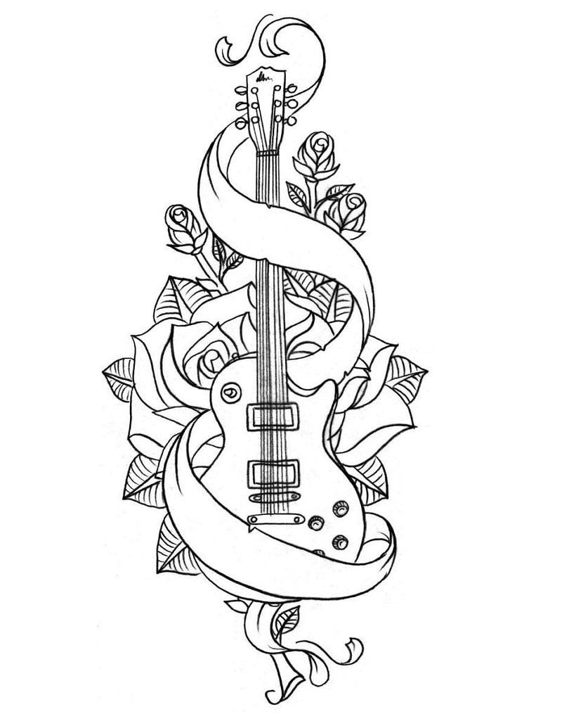 Desenhos de Guitarra Legal para colorir