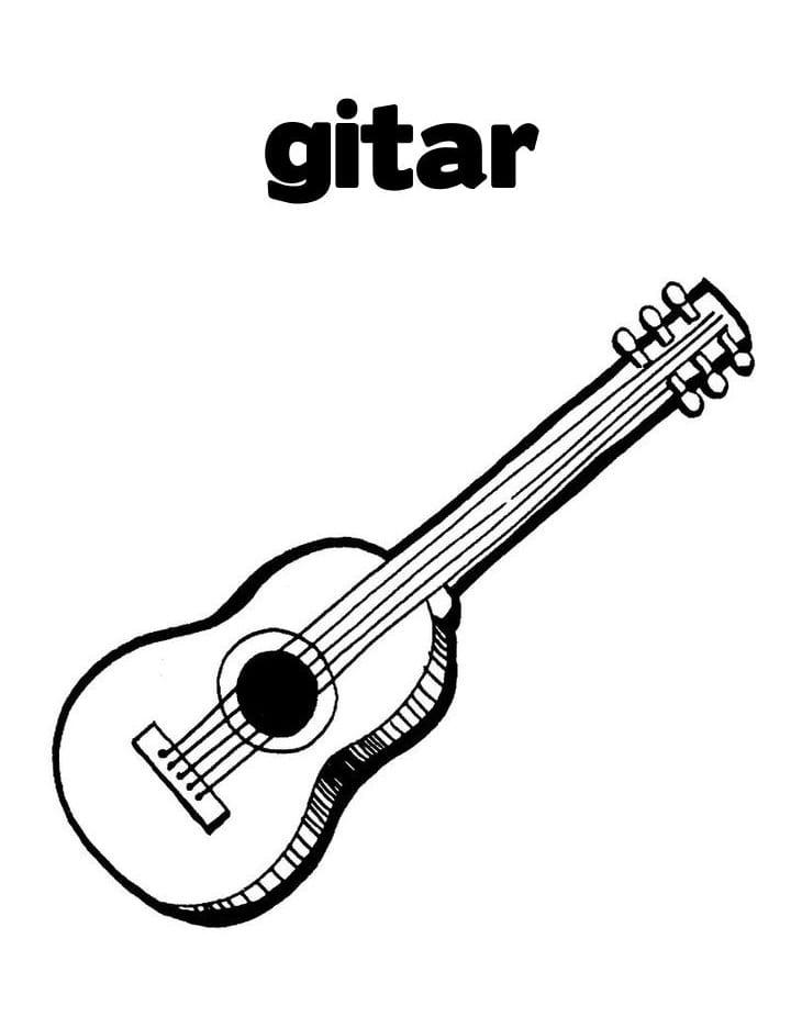 Desenhos de Guitarra Normal para colorir
