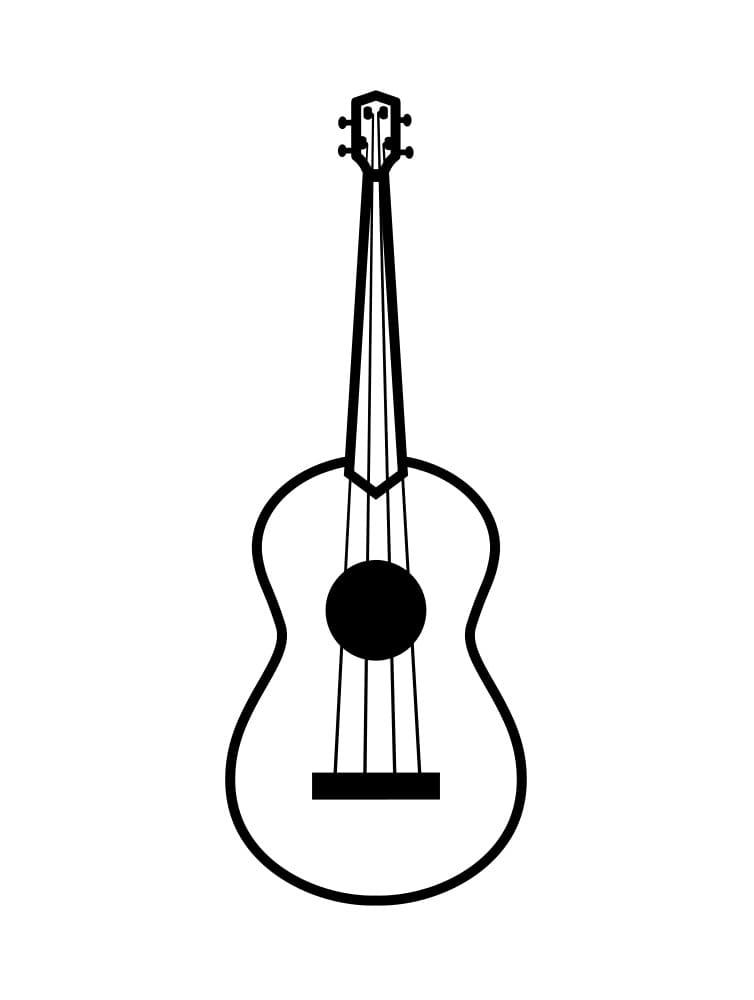 Desenhos de Guitarra Simples para colorir