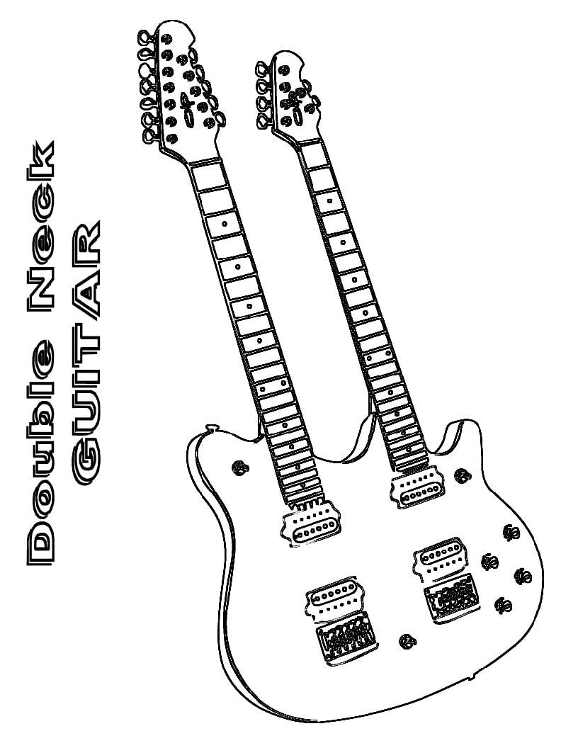 Desenhos de Guitarra de Braço Duplo para colorir
