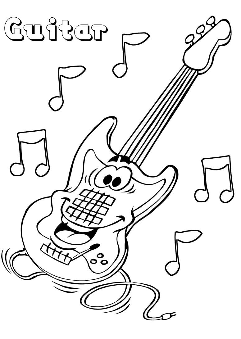 Desenhos de Guitarra de Desenho Animado para colorir