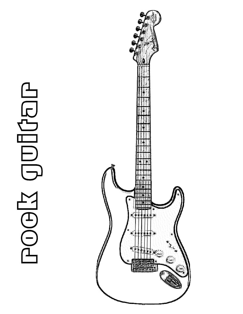 Desenhos de Guitarra de Rock 1 para colorir