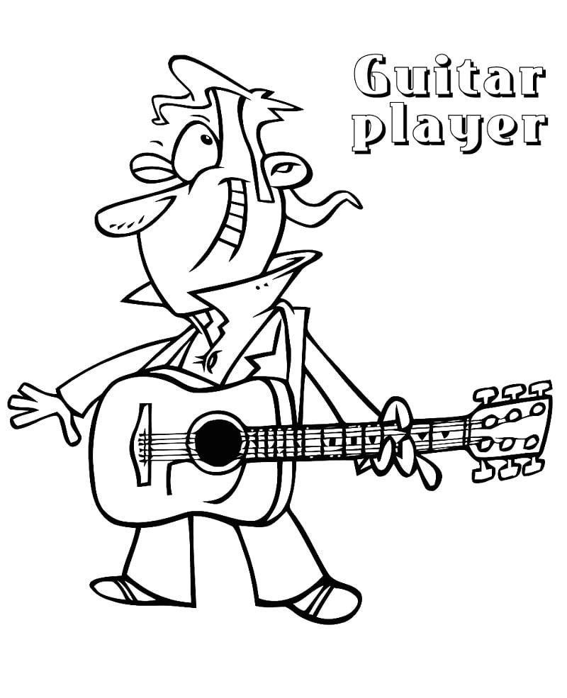 Desenhos de Guitarrista para colorir