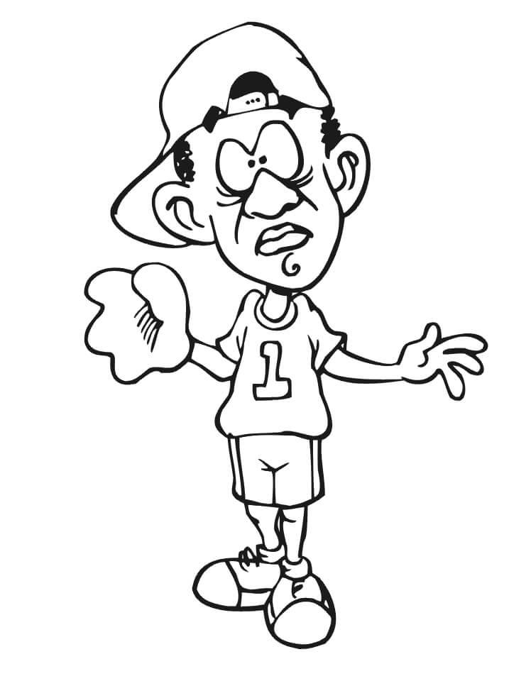 Desenhos de Jogador de Beisebol Engraçado 2 para colorir