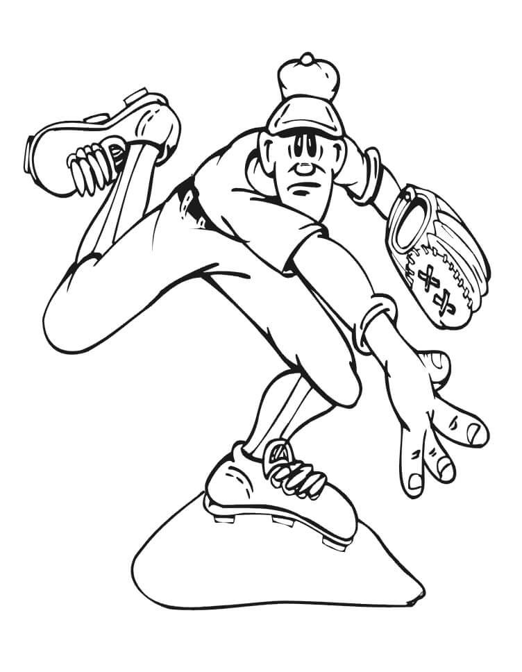 Desenhos de Jogador de Beisebol Engraçado 3 para colorir