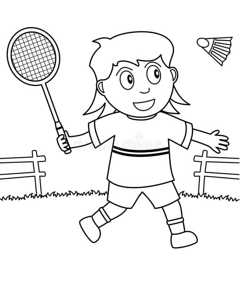 Desenhos de Jogando Badminton 1 para colorir