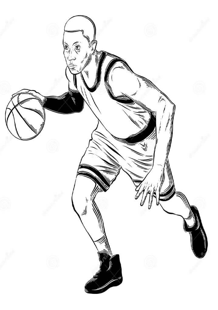 Desenhos de Jogar Basquete 2 para colorir