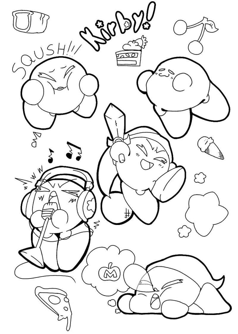 Desenhos de Kawaii Kirby para colorir