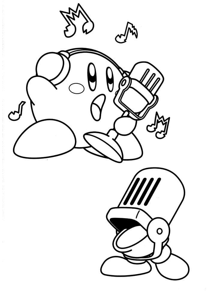 Desenhos de Kirby Cantando para colorir