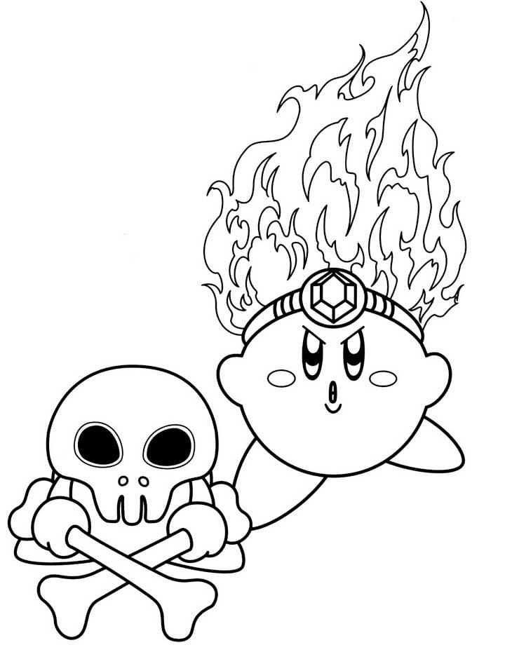Desenhos de Kirby com Osso Cruzado para colorir