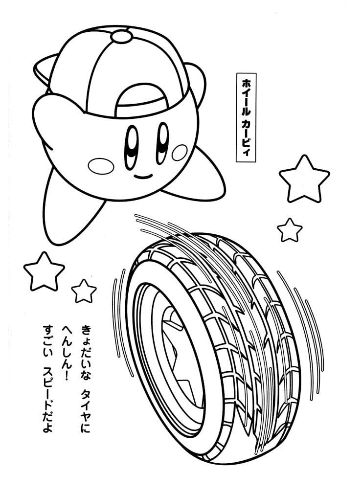 Desenhos de Kirby com Pneu para colorir