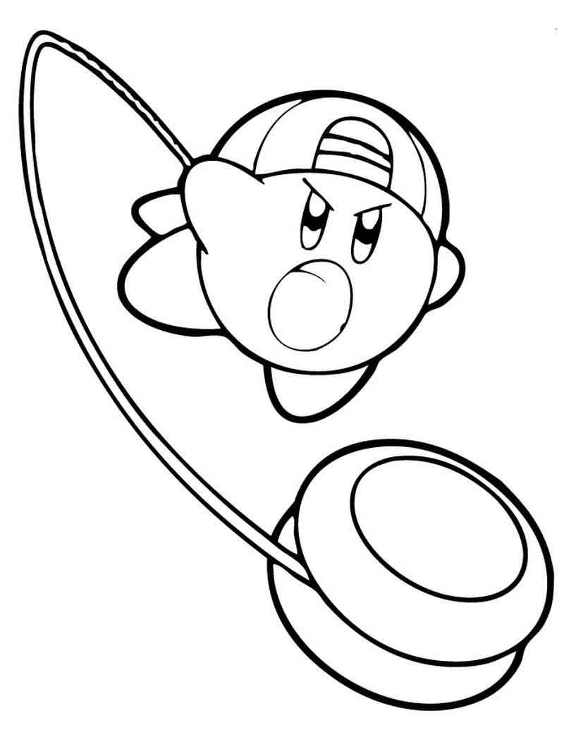 Desenhos de Kirby com Yoyo para colorir