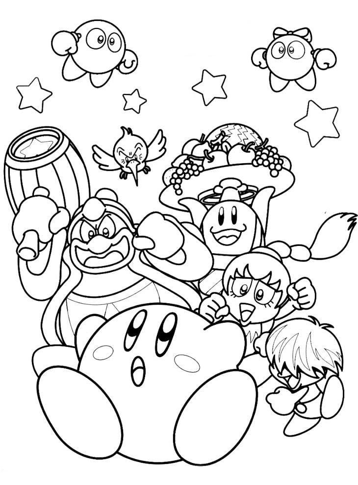 Desenhos de Kirby e Amigos para colorir