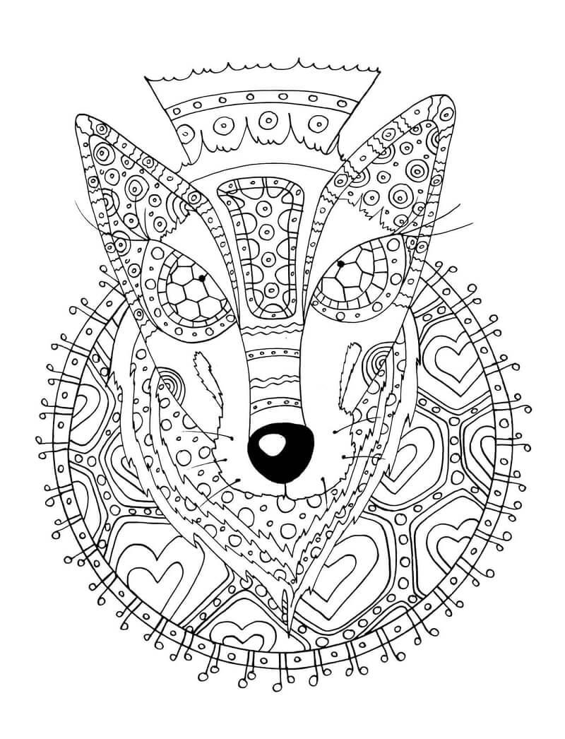 Desenhos de Lobo com Padrão Tribal para colorir