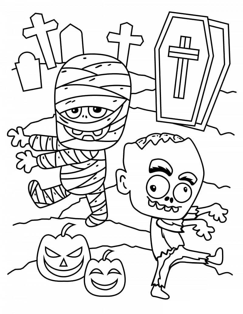 Desenhos de Múmia e Zumbi para colorir