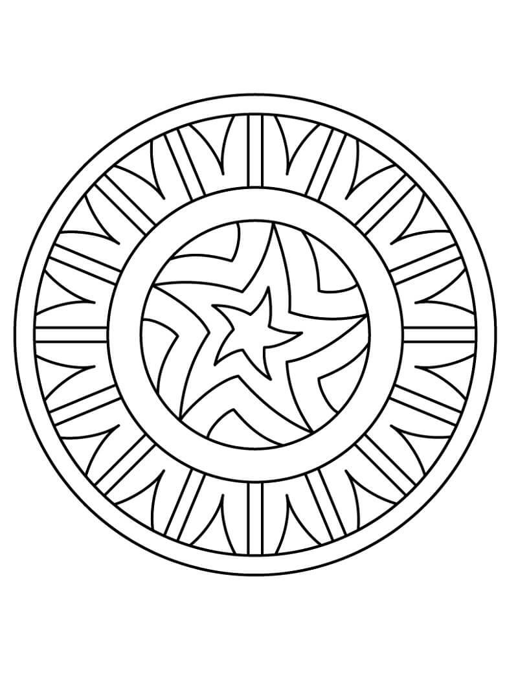 Desenhos de Mandala com Padrão de Estrela para colorir