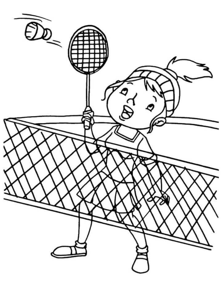 Desenhos de Menina Jogando Badminton 1 para colorir