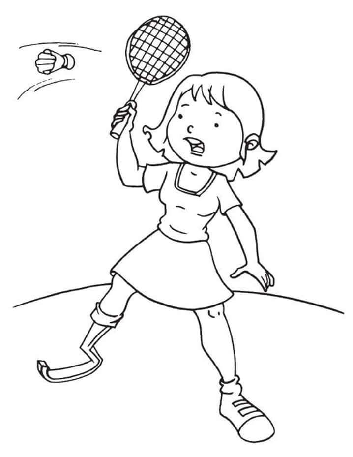 Desenhos de Menina Jogando Badminton 2 para colorir